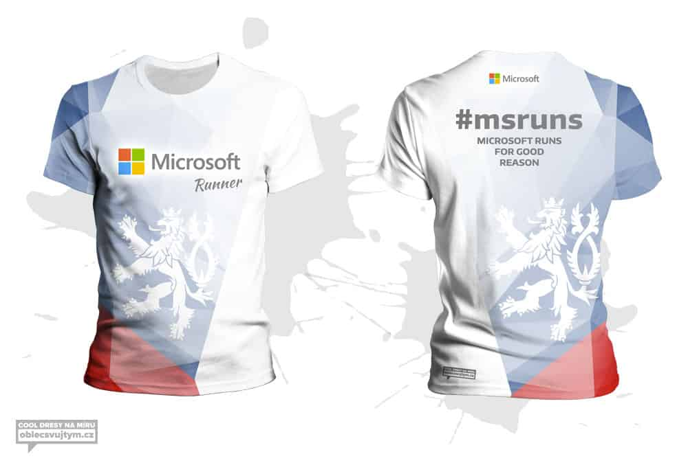 Funkční týmové tričko na běžecké závody - tým Microsoft
